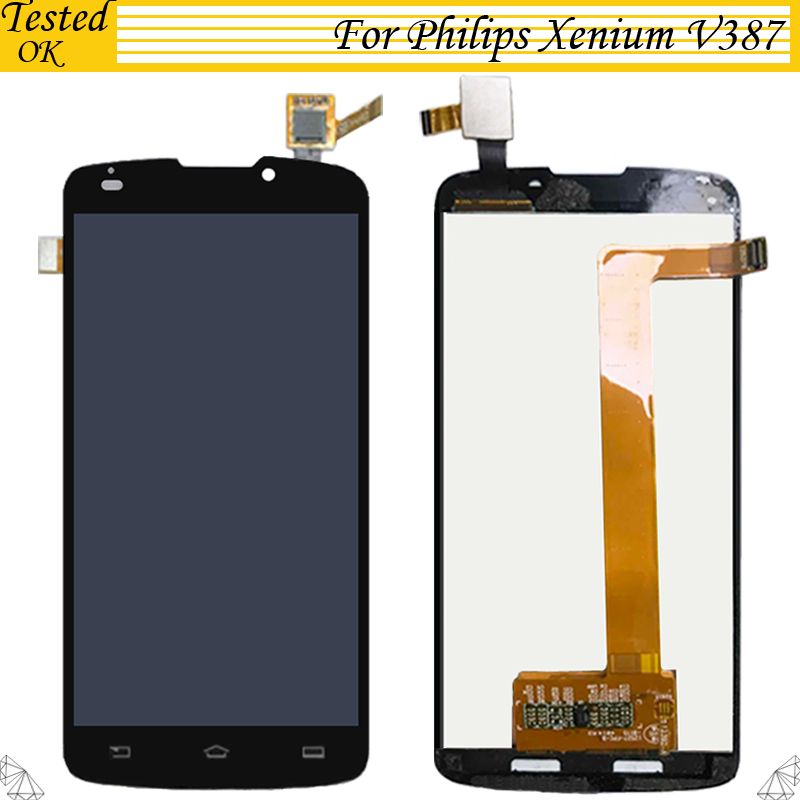 High Quality 5 0 Black Lcd For Philips Xenium V387 LCD Display Touch Screen Digitizer Assembly
