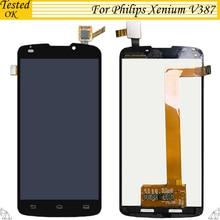 Высокое Качество 5,0 «черный ЖК дисплей для Philips Xenium V387 дисплей + сенсорный экран планшета Ассамблеи Бесплатная доставка