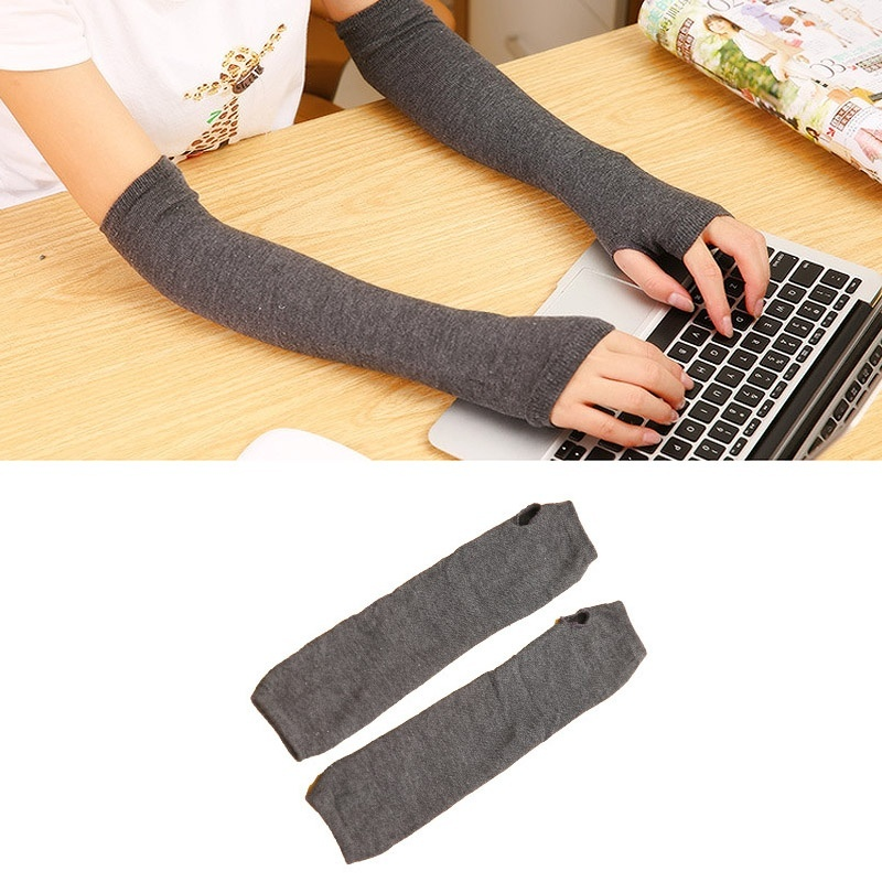 Lady Stretchy Soft Knitted Wrist Arm Warmer Long Sleeve Fingerless Gloves Striped QL Sale