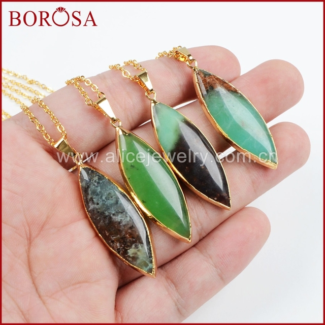 f019ad082 BOROSA Fashion Gold jewelry Necklace Natural Marquise Chrysoprase Necklace  Quartz Druzy Necklace G369-N