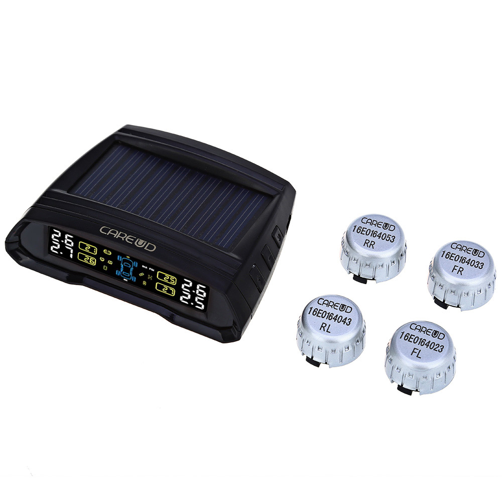 CAREUD T802 Solar Power Car TPMS Wireless Tire Pressure Monitoring System 4 External/ Internal S Sensors LCD Display цена