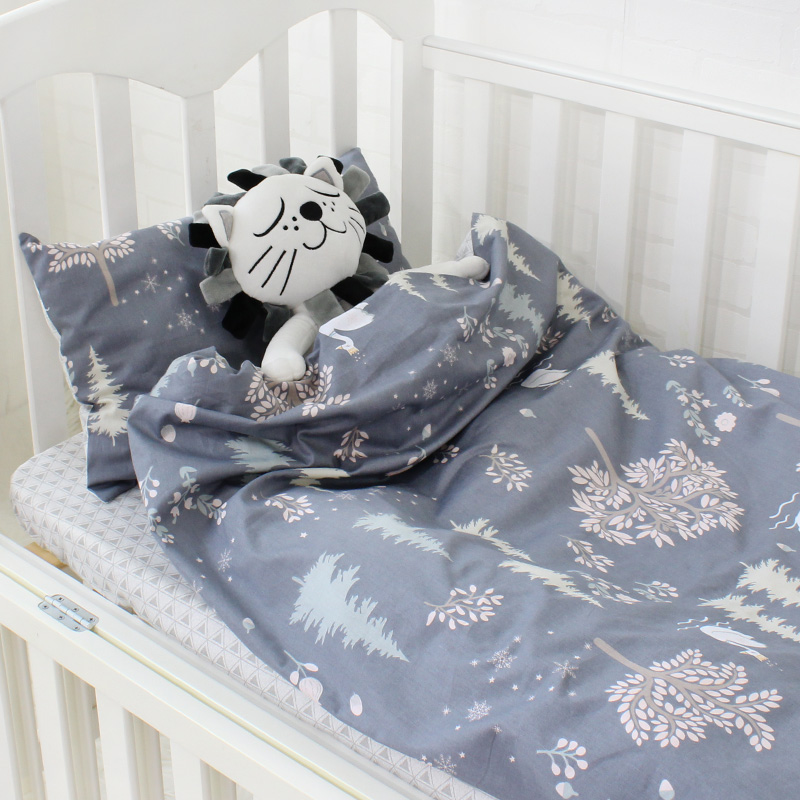 3Pcs Cotton Crib Bed Linen Kit For Boy Girl Baby Bedding Set Includes Pillowcase Bed Sheet Duvet Cover Without Filler