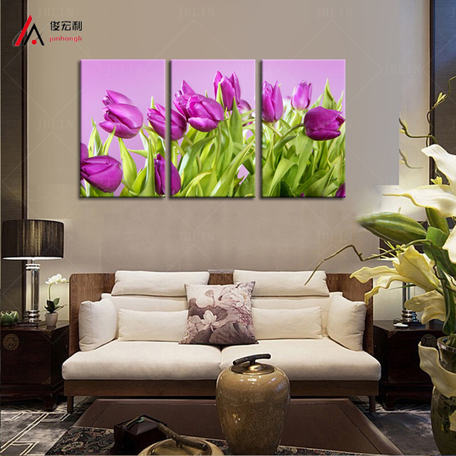 Tulip Rose Wall Art Painting For Kitchen Room Golden: 5 Panel Canvas Print Home Decor Purple Tulip Paintings