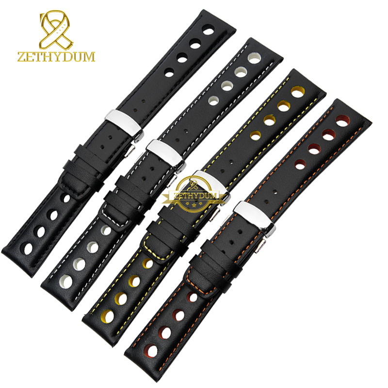Genuine leather bracelet watchband sport watch strap 20mm mens wristwatches leather band belts wristband black orange stitched nylon watchband 20mm 22mm watch strap stitched wristwatches band bottom is genuine leather bracelet pin buckle accessories