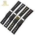 Genuine leather bracelet watchband sport watch strap 20mm mens wristwatches leather band belts wristband black orange stitched
