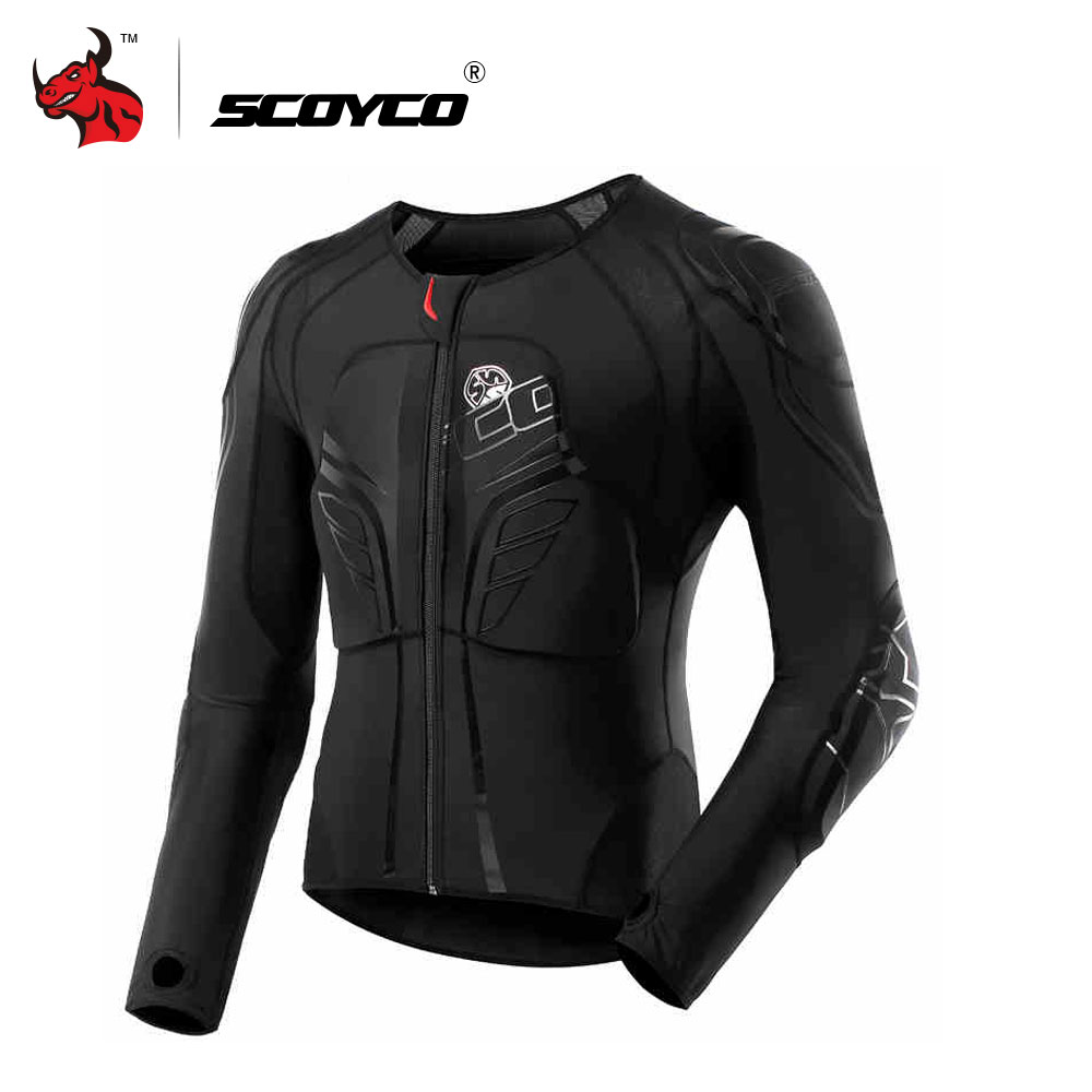 SCOYCO Men's Racing Motocross Prptective Jacket Motocross Armor Racing Body Armor Black Motorcycle Jacket Soft Moto Armor M-3XL scoyco t117 xl motorcycle racing protection t shirt size xl