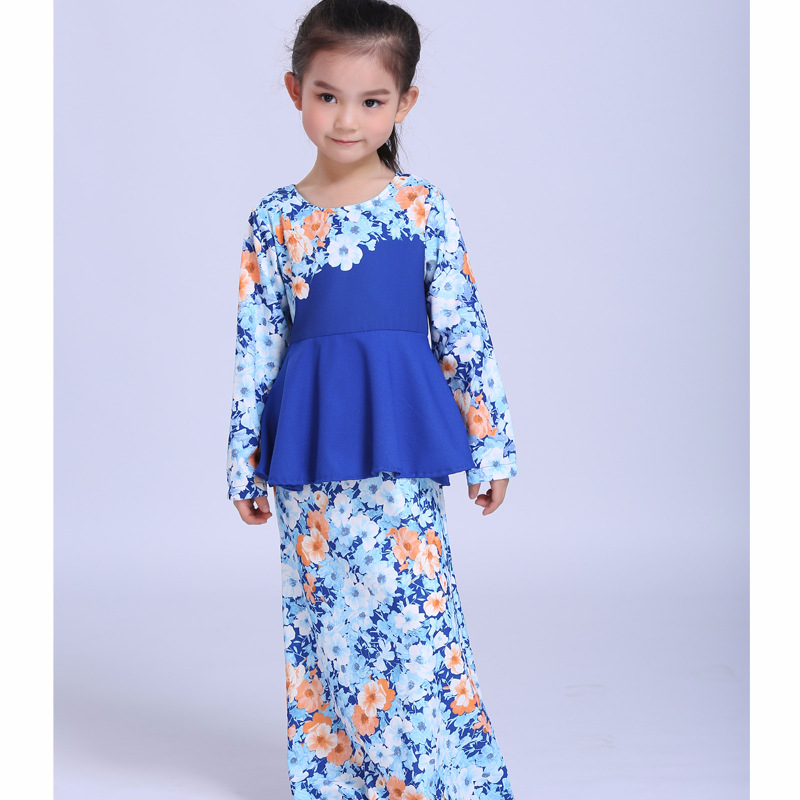 Fashion Floral Blue Long Style Baby Girl Dress Summer Princess Dress Girls Clothes For 2Y-7Y full sleeve Doll dresses KD-1840 pink wool coat doll clothes with belt for 18 american girl doll