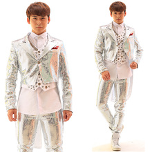 Silver Sequins Swallowtail Men Jacket Rhinestones Vest White Shirt And Pants Nightclub Male Singer Punk Slim Costume