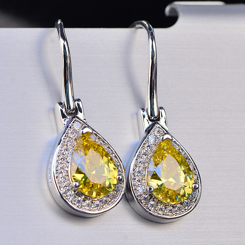 HTB1y6H0LhnaK1RjSZFBq6AW7VXaB - OneRain 100% 925 Sterling Silver Water Drop Sapphire Citrine Topaz Amethyst Gemstone Drop Dangle Hook Earrings Jewelry Wholesale