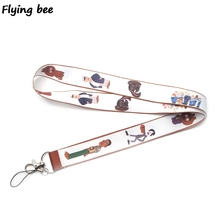 Flyingbee Brickleberry Cute Keychain lanyard Badge Lanyards Mobile Phone Rope Keyring Key Lanyard Neck Strap Accessories X0275