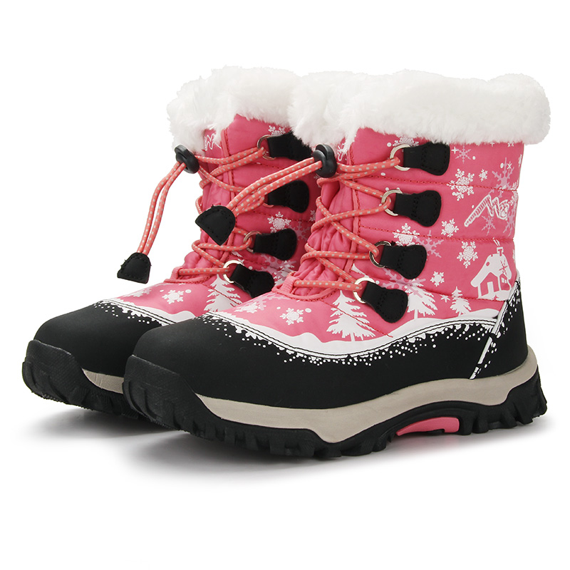 Girls' snow boots winter girls' children's waterproof, anti-skid and wool padded warm tube boots Plush 6 and 12 years old fall and winter girls boots knitted wool boots elastic cotton cloth boots
