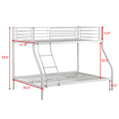 Goplus Twin Size Full Size Metal Bunk Bed for Kids Teens Adult Dorm Space-saver Child Parents Beds Bedroom Furniture HW56066+