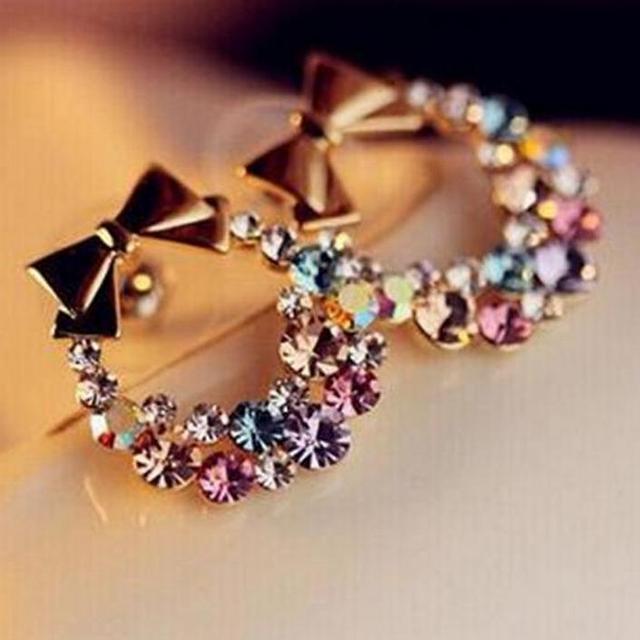New Fashion pendientes Earrings Imitation Rhinestone Colorful Rhinestone Bow Vintage Stud Earrings Jewelry wholesale