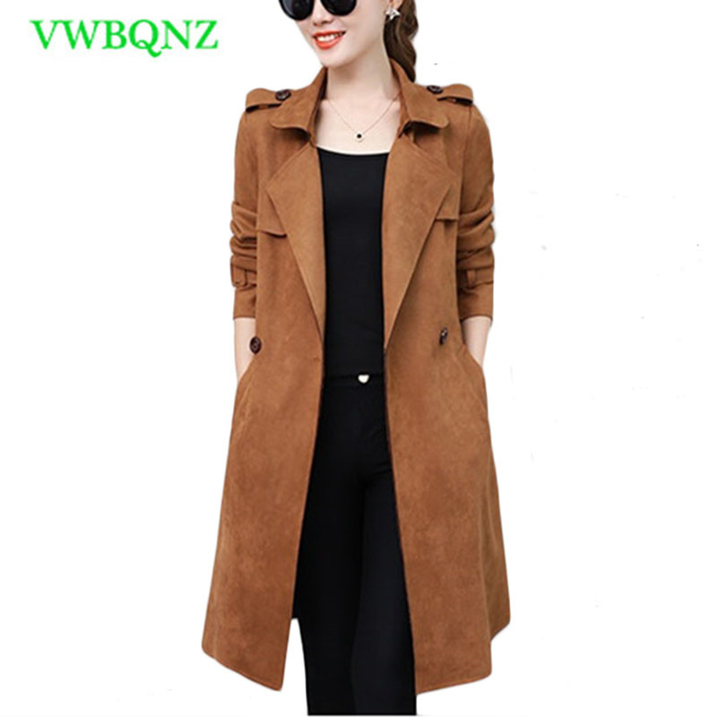 New Suede Windbreaker coat Women Spring Autumn Korean Slim Long   Trench   coats Women's High quality Casual Cardigan Overcoats A180