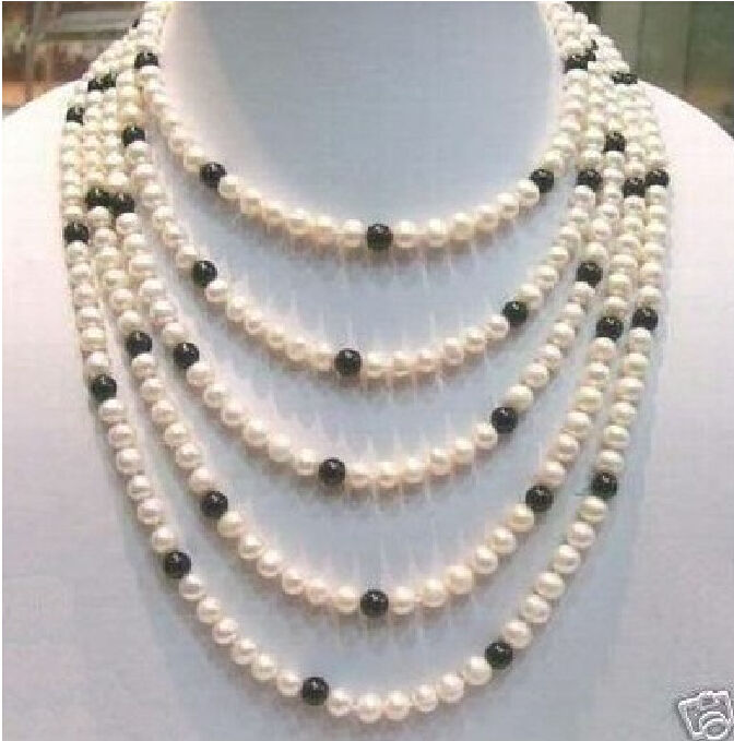 free shipping 100'' AAA+8-9MM CHARMING AKOYA WHITE BLACK PEARL NECKLACE r a()