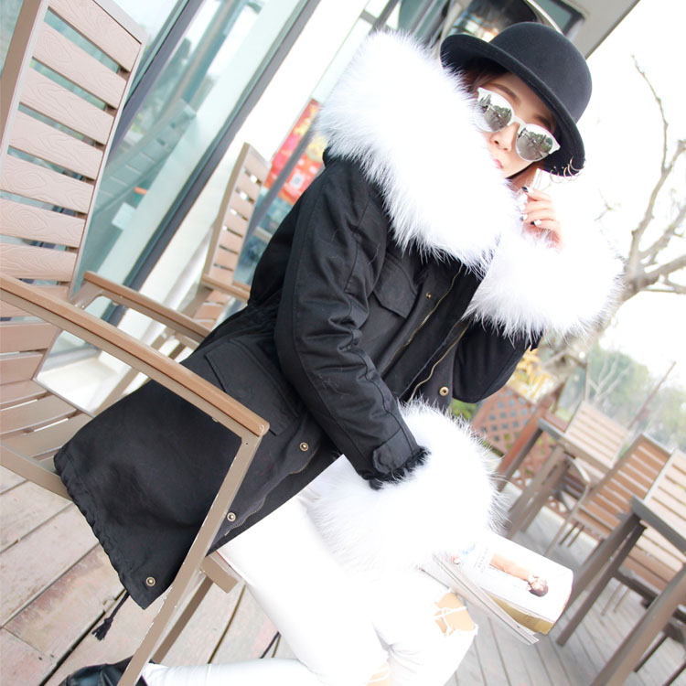 OVERSIZE 2017 new fashion winter jacket coat women parka with big natural real Raccoon Dog Fur Collar hooded loose parkas mujer