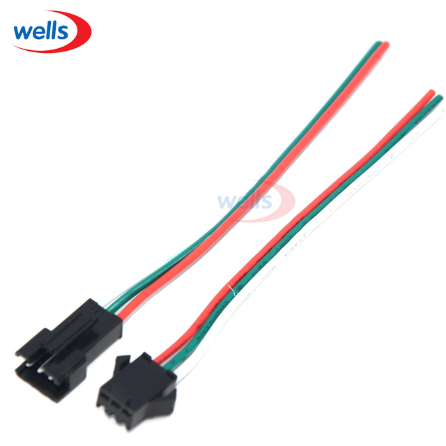 10 Pair 3pin JST Connector Male & Female Cable Wire for WS2811 ...