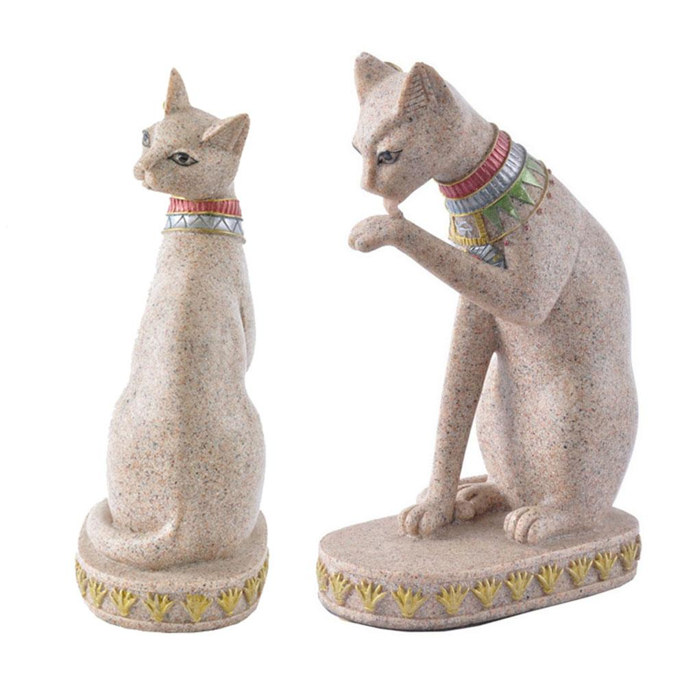Sandstone Egyptian Cat God Statue Cat Ancient Egypt Gyptian Cat Figurine Statue Decoration Vintage Cat Goddess Bastet Statue