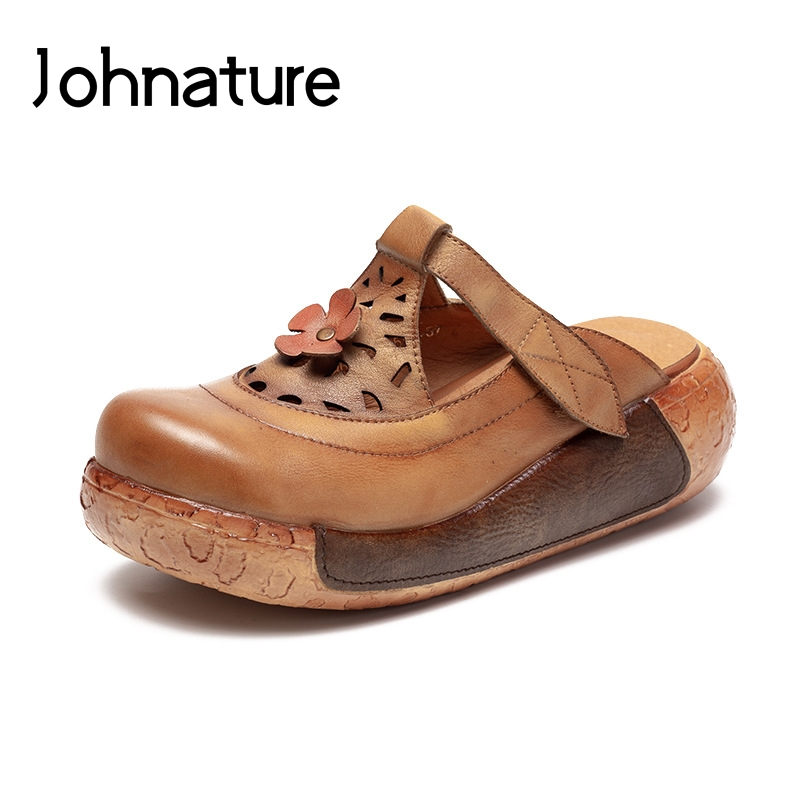 Johnature 2019 New Summer Genuine Leather Outside Slippers Casual Hook Loop Flower Wedges Sandals Women Shoes