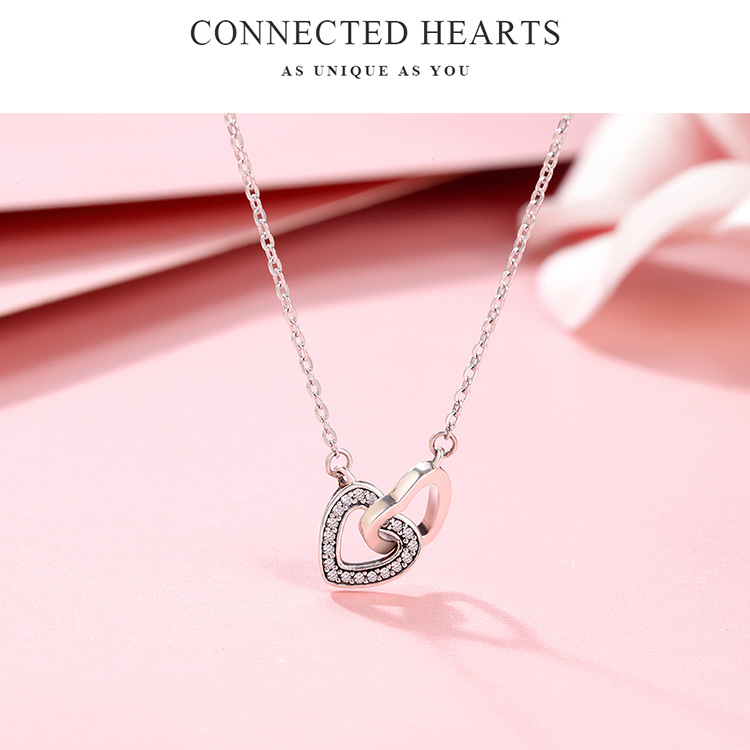 HTB1y6I2lnnI8KJjy0Ffq6AdoVXam BAMOER Valentine Day Gift 925 Sterling Silver Connected Heart Couple Heart Pendant Necklace for Girlfriend Silver Jewelry SCN181