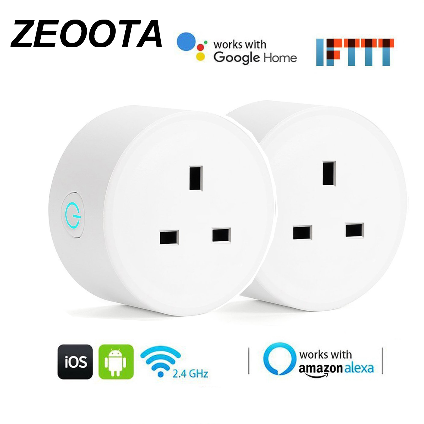 Smart WiFi enchufe de alimentación Super Mini REINO UNIDO DE hembra de trabajo con Amazon Alexa Google a casa. IFTTT voz Control remoto Control-2PACK