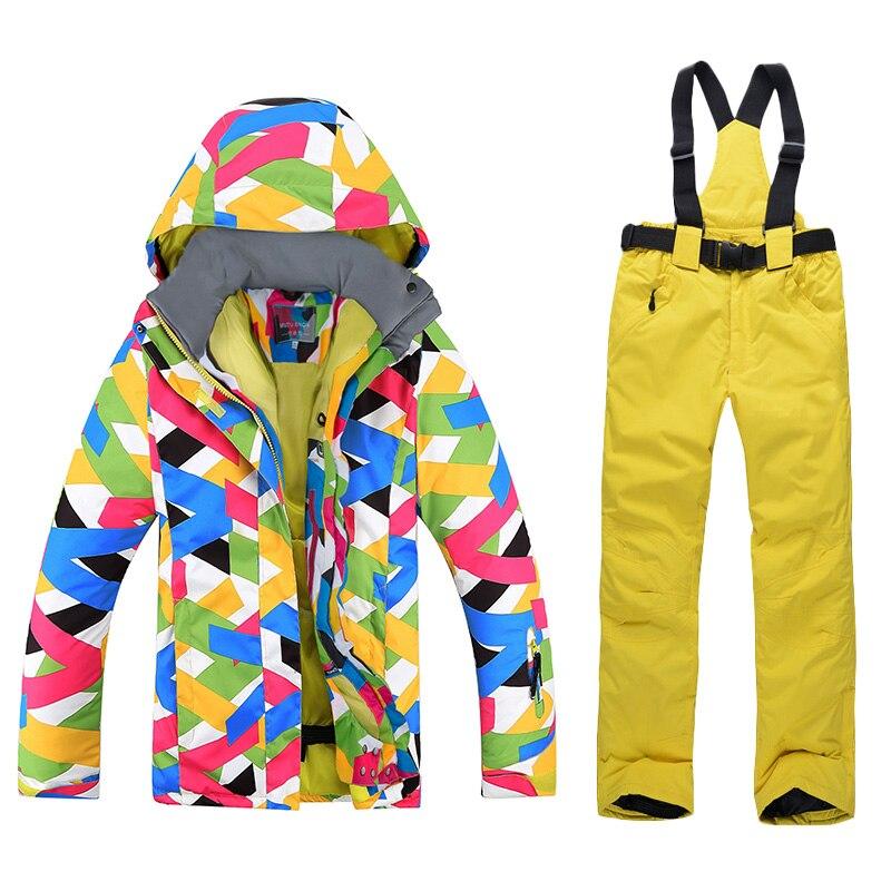 Combinaison de Ski femmes marques haute qualité femme pantalon de neige coupe-vent imperméable vêtements colorés hiver ensemble veste de Snowboard femmes Ski - 4