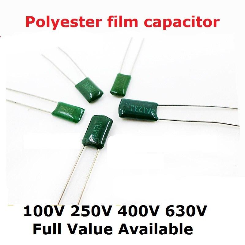 50PCS 100V 2A273J 2A333J 2A393J 2A473J 2A103J 2A153J 2A223J 2A123J 10/0.0/15/22/12/27/33/39/47/UF/NF Polyester Film Capacitor