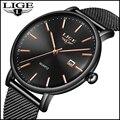 Часы LIGE мужские  модные  тонкие  кварцевые  водонепроницаемые  спортивные  черные