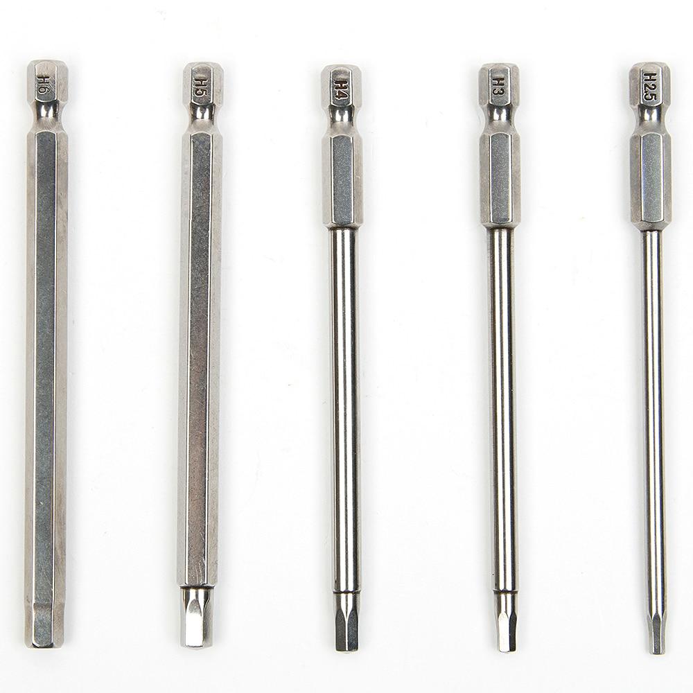 5 db 100 mm-es S2 acél belső hatszögletű fúró csavarhúzó - Kézi szerszámok - Fénykép 1