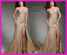 Gold Sparkly Long Column Side Slit Women Prom Evening Dress Beads And Sequins E3202 cut and sew slit side striped kimono