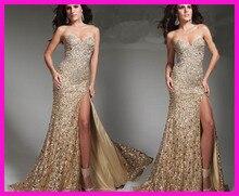 Gold Sparkly Long Column Side Slit Women Prom Evening Dress Beads And Sequins E3202 недорго, оригинальная цена