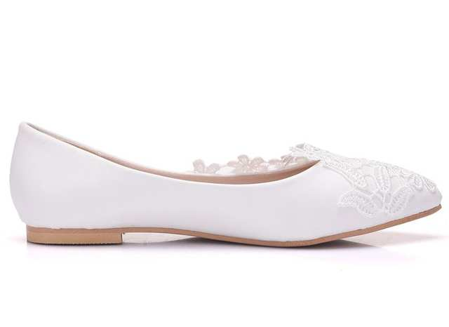 White Lace Wedding Shoes | Online Shop Crystal Queen Ballet Flats White Lace Wedding Shoes Flat