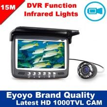 Eyoyo D'origine 15 M Infrarouge De Pêche Caméra Sous-Marine 1000TVL Glace Fish Finder Vidéo Enregistrement DVR 4.3 «moniteur 8 IR LED Pare-Soleil