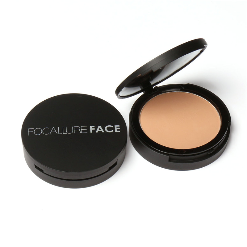 Focallure Double Layers Mineral Pressed Powder Palette Face Foundation Base Makeup Concealer Highlighter Powder Oil-Control
