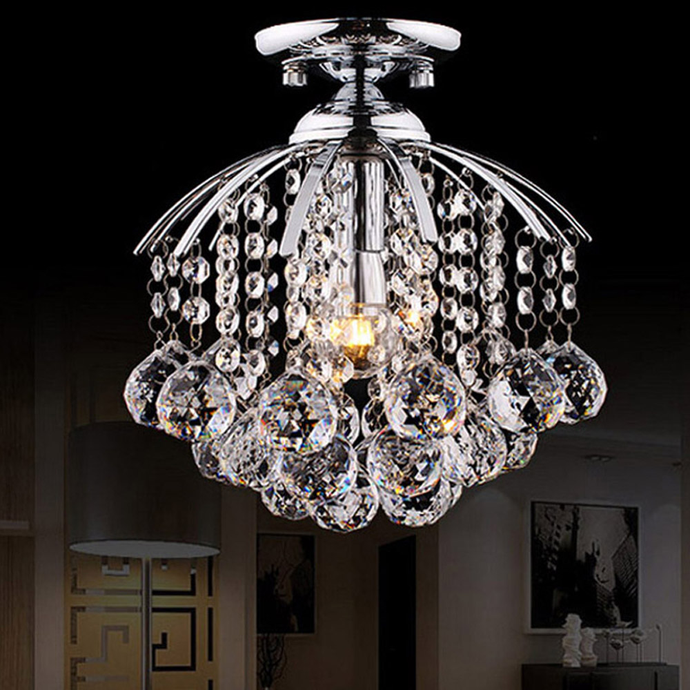 Led small crystal chandelier round bar counter aisle lights off the corridor entrance hall lighting Hanging E14 LED Chandelier light the mediterranean restaurant in front of the hotel cafe bar small aisle entrance hall creative pendant light df57