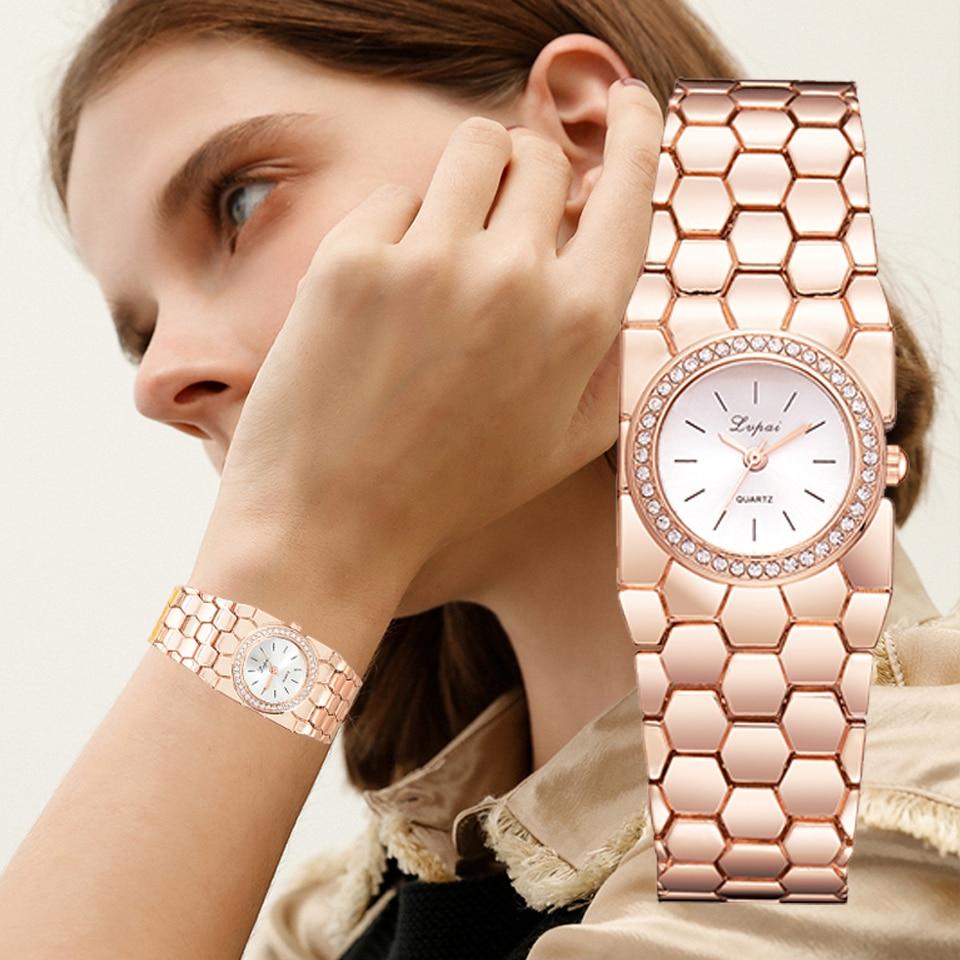 Lvpai Brand Watches For Women Luxury Bracelet Stainless Steel Dress Quartz Wrist Watch Fashion Ladies Business Cuff Dress Watch