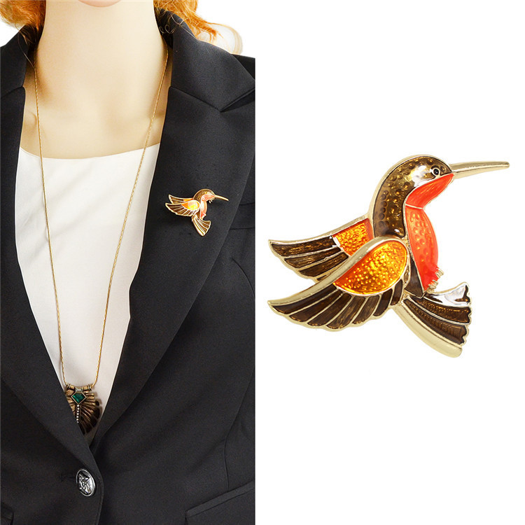 Fashionable individual animal color glaze bird animal Pins and brooches pin Badges Hat Backpack Accessories Lovers jewelry Gift image