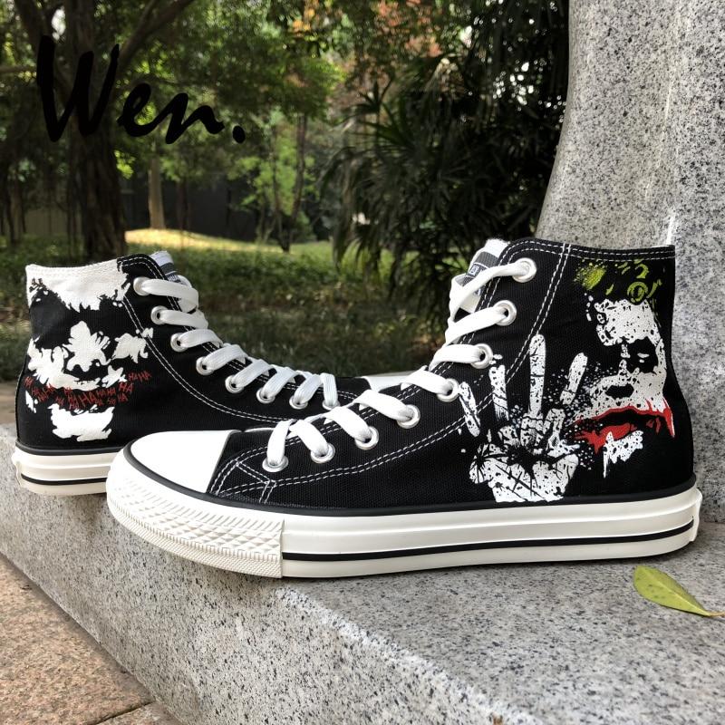 Wen Hand Painted Black Canvas Shoes