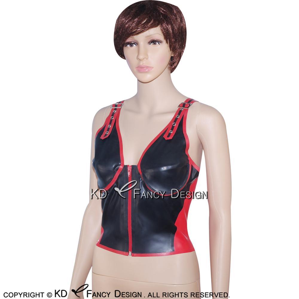 Noir avec garnitures rouges Sexy Latex chemise haute avec ceintures fermeture éclair à l'avant en caoutchouc sous-vêtements vêtements YF-0020 - 4