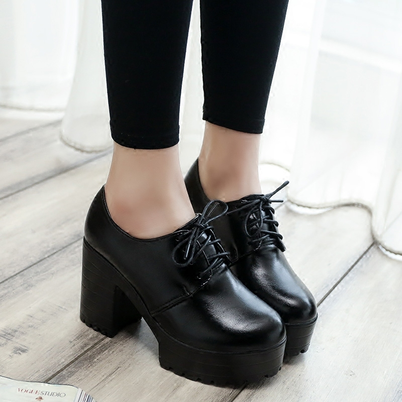 2019 New Thick With High Heels Thick Sole Shoes British Women's Shoes Autumn Laces Students Round Head Ladies Casual Women Shoes