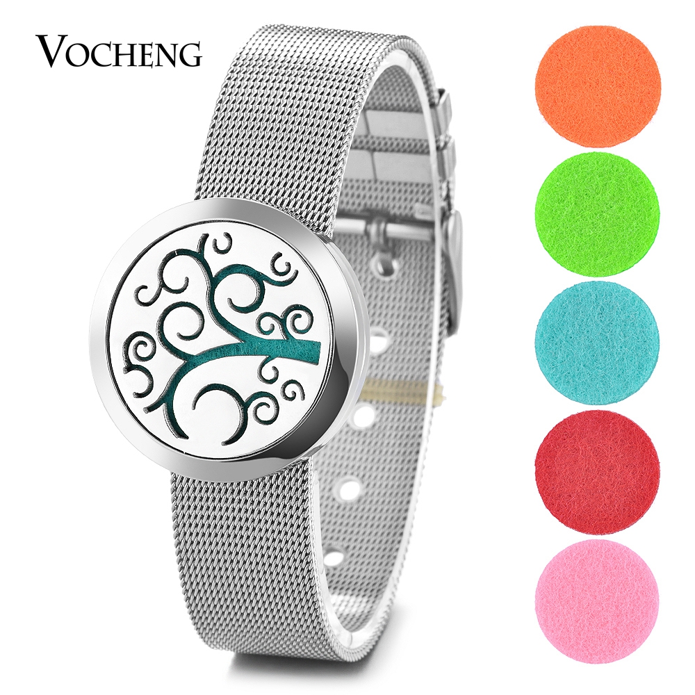 10pcs lot Perfume Diffuser Locket Bracelet 316L Stainless Steel Watch Band Family Tree Magnetic without Felt