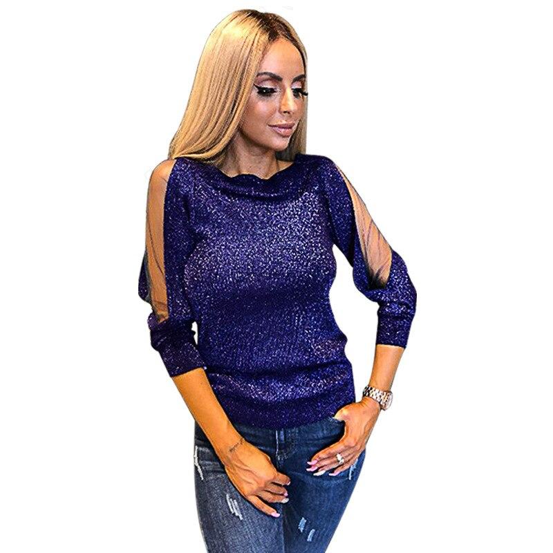 Blusas De Sj1004m Larga púrpura Para Azul Fiesta Delgadas Transparente Retales Club Mujer Seda Blusa Manga Camisa Camisas Sexy verde Malla Brillante rosado TZEdq1xTgw