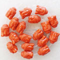 (Min. Order is $10)1Strand Beautiful Carved Dark Orange Turquoise Buddha Head Loose Bead 15.5inch ZN-126
