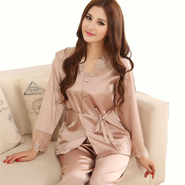 0ca215b5aa0f1c Lovers Sleepwear Silk Pajamas Set Spring Autumn Length Pants Leisure Lounge  Set Women Men Champagne Pajamas M,L,XL,XXL,XXXL