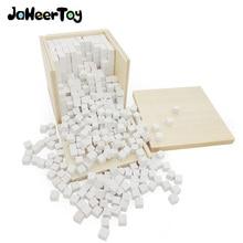 JaheerToy Montessori Educational Toy White Cube Wooden Toys Small Blocks Geometric Assembling Block for Children for Kids