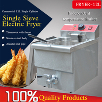 1PC Electric deep fryers single cylinder FY 12L 220V/3.25KW food fryer pan Precise temperature control Fryers