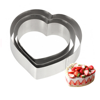 New 5 6 7 inches 3D DIY Heart Shape Metal Stainless Steel Tiramisu Chocolate Mousse Ring Cake Mold Circle Mould