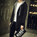 Hot 2016 Autumn and winter men windbreaker jacket in the long and thick warm coat hooded Korean cultivating student leisure tide