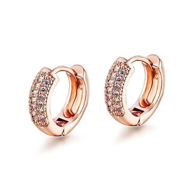 1d531645f MxGxFam Small CZ Hoop Earrings For Women Girls 2 Row AAA+ Cubic Zircon  Yellow / Rose