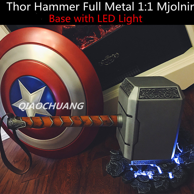 Avengers Weapon Superhero Thor Hammer Full Metal 1:1 Mjolnir Cosplay Hammer Thor Odinson Quake MARTILLO Base With LED Light W200 samkoon sa 5 7a 5 7 inch touch screen hmi 2com new programming cable